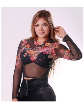 BLUSA TOP TRANSPARENCIA ESTAMPADA